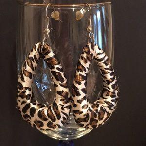 Leopard Pattern Fabric Wrapped Teardrop Earrings